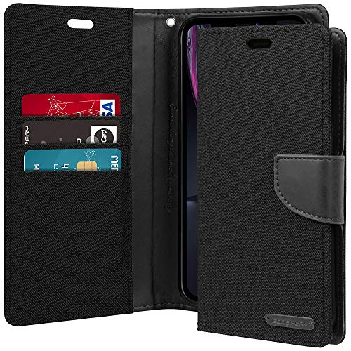iPhone XR Case [Drop Protection] Goospery Canvas Diary [Denim Material] Wallet Case [Card Slots] Stand Flip Cover [Magnetic Closure] for Apple iPhone XR (2018) - Black, IP9-CAN-BLK