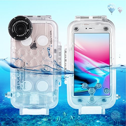 Phone Protective case for IP 8 & 7 40m/130ft Waterproof Diving Housing Photo Video Taking Underwater Cover Case (Size : for 8+7 Transparent)