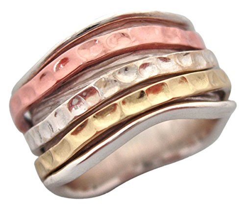 Energy Stone SEA WAVES Hammered Pattern Spinners on Textured Silver Base Ring (Style USA27) (10.5) (Style Hammered Silver Ring)