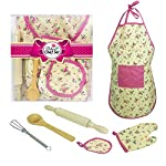 Per 6pcs Kids Baking Set, Children Bakeware Kit Include Apron,Oven Glove,Eggbeate Real Baking Supplies Kitchen Chef Costume for Children