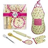 Children's Kitchen Apron, 6Pcs Toddler Cooking and Baking Set For for Boys and Girls