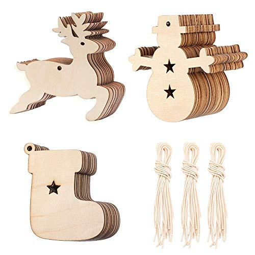 (30 Pack Christmas Wooden Openwork Wooden Christmas Embellishment Hanging Ornament Contains 10 elk Patterns, 10 Snowman Patterns, 10 Christmas Stocking Patterns and 30 Winding lanyards)