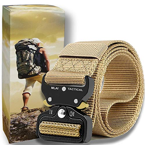 (Tactical Belts for Men Nylon Belts for Men Heavy Duty Webbing Belt Military Belt Style Quick Release Belt with Adjustable Army/Police/Women Kids/Key Ring (b tan, M (Waist)