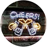 AdvpPro 2C Bar Cheers Beer Mugs Glass Home Décor Dual Color LED Neon Sign White & Yellow 12'' x 8.5'' st6s32-i2857-wy