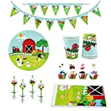 54 Piece Farm Animals Pig Cow Sheep Tractor Theme Party Supplies, Kids Birthday Party Decoration Tableware Pack, Including Banner, Plate, Cup, Straw, Cupcake Deco, Table cover, Serves 8 Guests