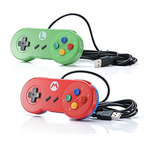 2 PACK Retro SNES Classic PC Game Controller Windows 10 Gamepad Joysticks USB Game Controller Mac Linux, Joypad Joystick for Raspberry Pi 3 Steam Super Nintendo