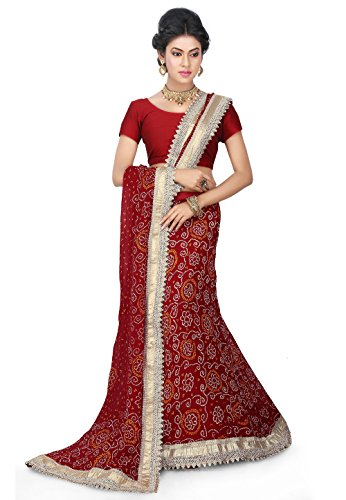 Bandhej Printed Pure Chinon Crepe Mermaid Lehenga in Maroon