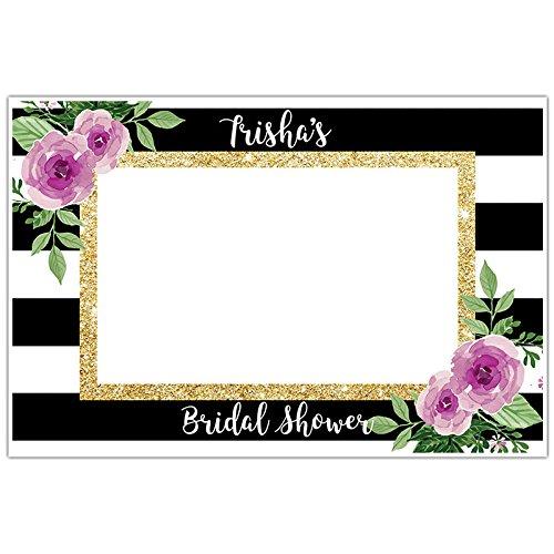 Amazon.com: Black and White Striped Floral Plum Selfie Frame Social ...