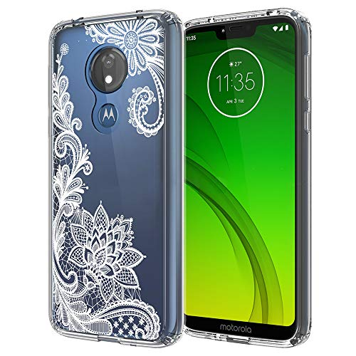 - Moto G7 Power Case, Moto G7 Supra Case, LEEGU Anti-Scratch Shockproof Floral Printed Girls Hybrid Hard Plastic and TPU Gel Bumper Protective Cover Slim Cases - White Lace