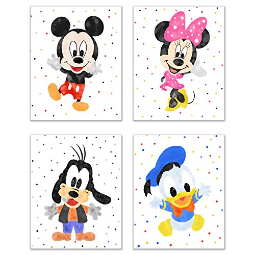 Mickey Mouse Nursery Wall Decor - Set of 4 (8 inches x 10 inches) Art Prints - Minnie Donald & Goofy Original Glossy Photos -