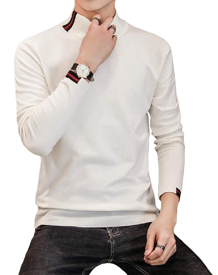 YUNY Men Mock Neck Long Sleeve Knit Patchwork Fashionable Casual Sweater White S