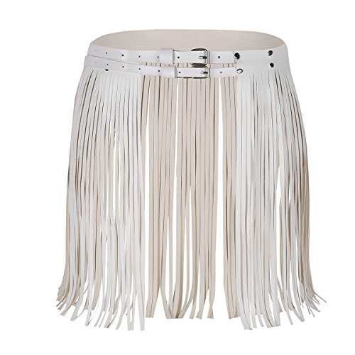 (MSemis Women's Adjustable Faux Leather Waistband Fringe Tassel Skirt Belt White One Size)