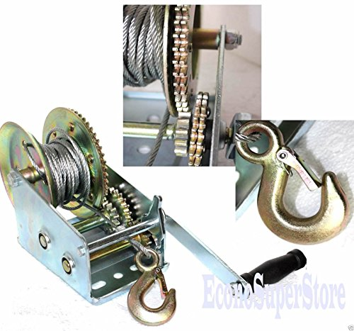 3500lbs-Dual-Gear-Hand-Winch-Hand-Crank-Manual-Boat-Atv-Rv-Trailer-33ft-Cable