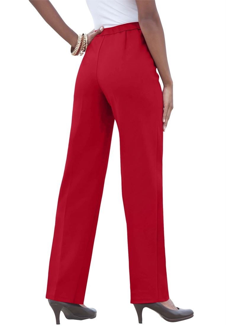 Roamans Plus Size Petite Stretch Pull-On Pants (Ruby,40 Wp)