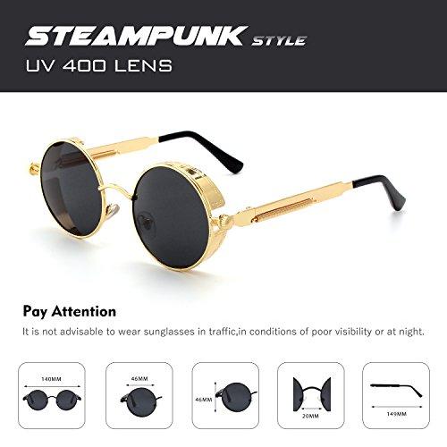 métallique hommes polarisées retro en rond CGID style Gris A3 cercle Or inspirées Steampunk pour de Lunettes du E72 soleil 7CCwRZq