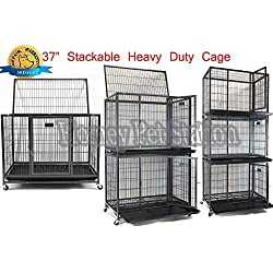 """Homey Pet 37"""" Heavy Duty Metal Open Top Cage w/Floor Grid, Casters and Tray"""