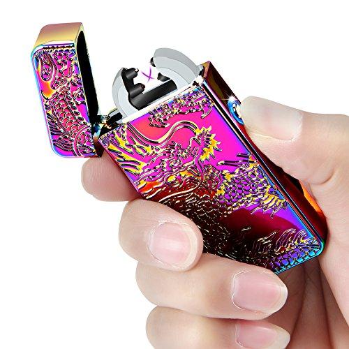 Kivors USB Rechargeable Windproof Flameless Electronic Plasma Pulse Double Arc Lighter