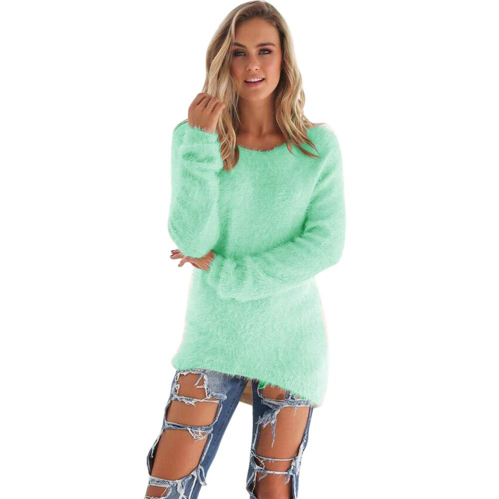 COPPEN Women Casual Solid Long Sleeve Jumper Sweaters Blouse