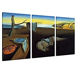 Alonline Art - Melting Clock The Persistence Of Memory Salvador Dali FRAMED STRETCHED CANVAS (100% Cotton) Gallery Wrapped - READY TO HANG | 45x30 - 114x76cm | 3 Panels multi Oil Painting Print