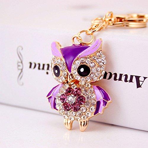 Jzcky Shzrp Lovely Owl Shape Crystal Rhinestone Keychain Key Chain Sparkling Key Ring Charm Purse Pendant Handbag Bag Decoration Holiday ()