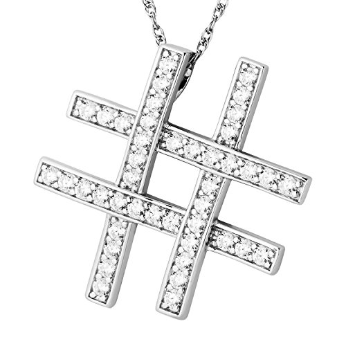 (CZ Tic-Tac-Toe Pendant Rhodium Plated Sterling Silver Necklace, 18