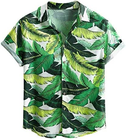 Beautyfine Mens Printing Hawaiian Shirt Ethnic Casual Short Sleeve Cotton Linen Blouse Tops