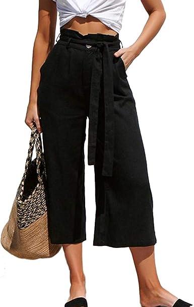 Amazon Com Molfroa Pantalones De Vestir De Talle Alto Con Cinturon De Tela Para Mujer Clothing