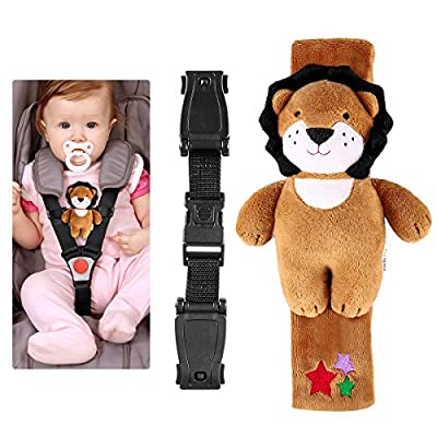 YEAHIBABY Baby Seat Lock Child Safety Lock Harness Locking Belt Stroller Safety Lock Chest Clip Safe Buckle Latch with A Plush Lion Cover