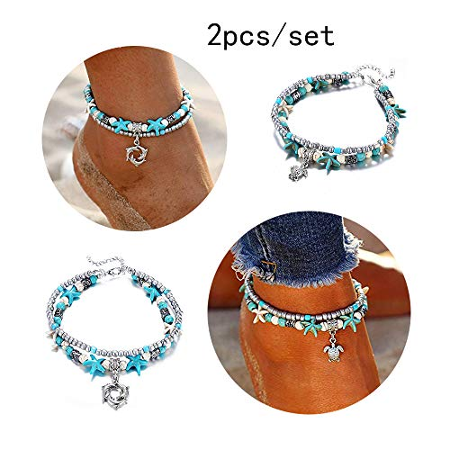CHOA 2Pcs Starfish Dolphin Wave Turtle Beach Anklet Set for Women Multilayer Boho Foot Jewelry (Turtle and Dolphin)