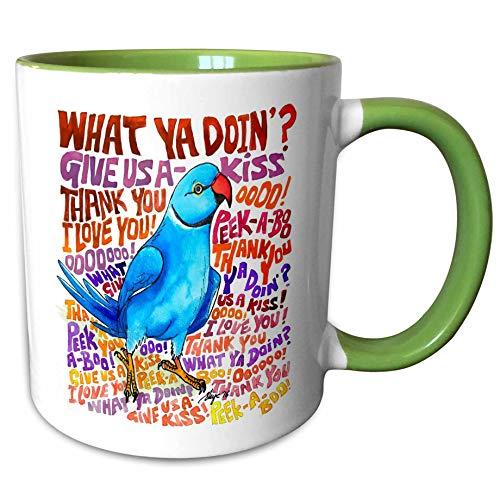 - 3dRose Skye Elizabeth Designs - What cha doin Indian Ringneck Sayings - 15oz Two-Tone Green Mug (mug_308316_12)