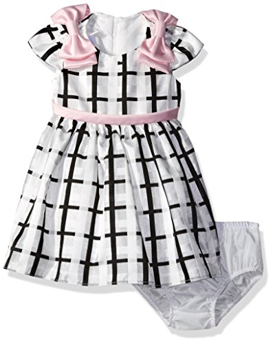 Bonnie Baby Girls' Short Sleeve Striped Plaid Organza Party Dress with Panty,Ivory,3-6 Months (Fancy Panties Baby)