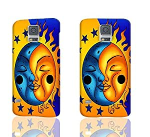 Sun And Moon Celestial 3D Rough Case Skin, fashion design image custom , durable hard 3D case cover for Samsung Galaxy S5 i9600 Regular, Case New Design By Codystore