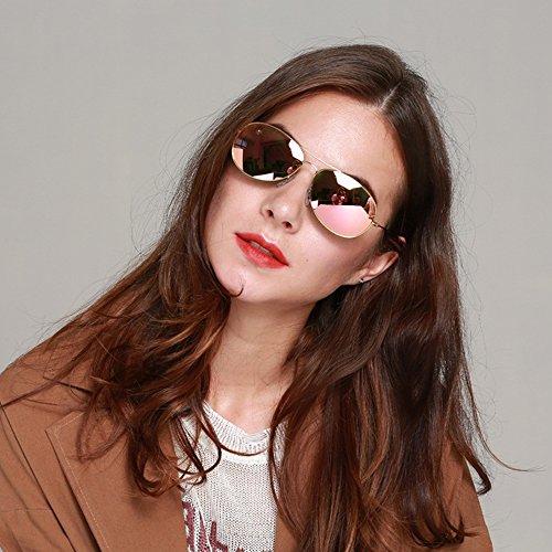 Gafas Pink Lens de sol mujeres Gold pequeñas de unisex aviador Mirror redondo para estilo Wenlenie sombras Frame 6w6Tqar
