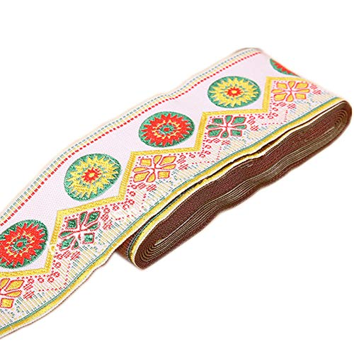 7 Yards Sunrise Sunset on The Moutain Jacquard Ribbon Suzani Floral Embroidered Woven Trim for Embellishment Craft Supplies (2 5/8inch, White)