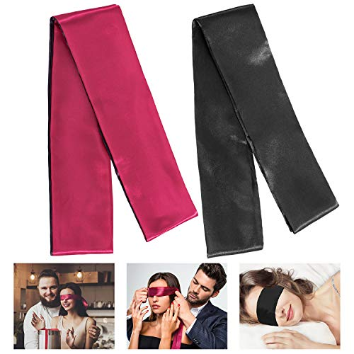 Whaline 2 Pack Satin Eye Mask Silk Sleeping Mask Blindfold Tie, 150 cm (Black and Red)