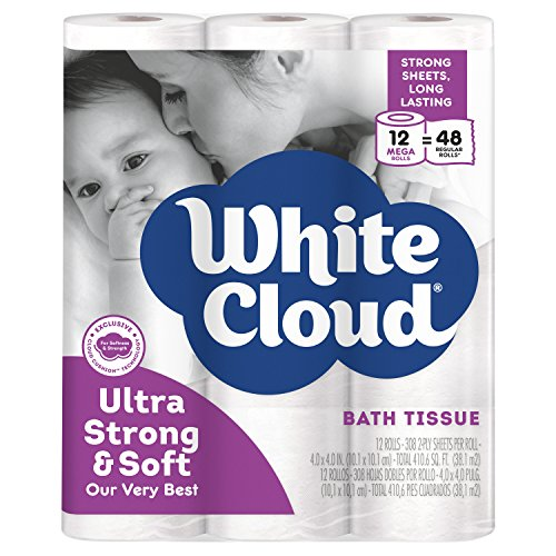 PACK OF 4 - White Cloud Ultra Strong & Soft Toilet Paper, 12 Mega Rolls ()