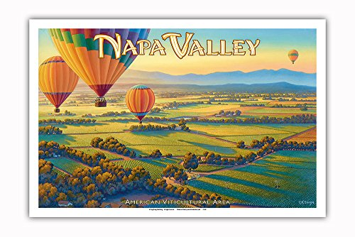 Pacifica Island Art - Napa Valley Wineries by Hot Air Balloon - North Coast AVA Vineyards - California Wine Country Art by Kerne Erickson - Master Art Print - 12in x 18in ()