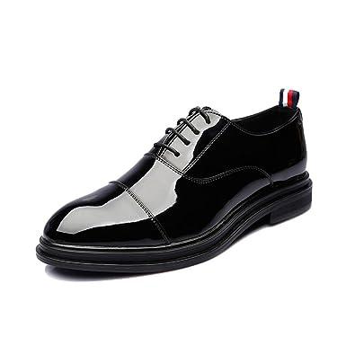 Yaojiaju Leder Oxford Schuhe Männer, Klassische Formale Slip-on Höhe Zunehmende Atmungsaktive Business Oxfords für Herren (Farbe : Brown, Size : 37 EU)