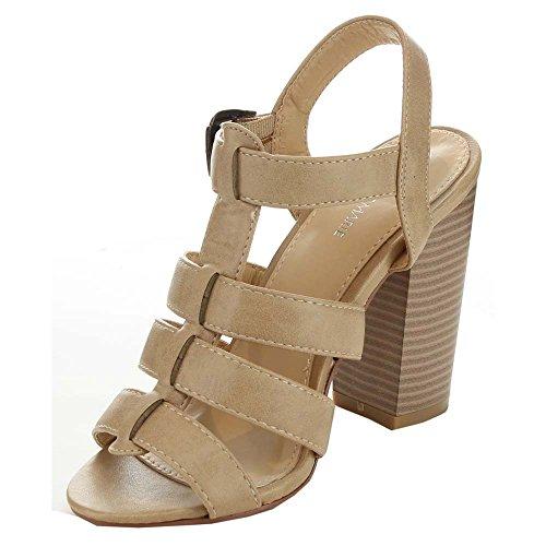 Anne Marie Savana-1 Donna Con Cinturino Alla Caviglia Con Tacco Grosso Sandalo Con Tacco Alto Beige