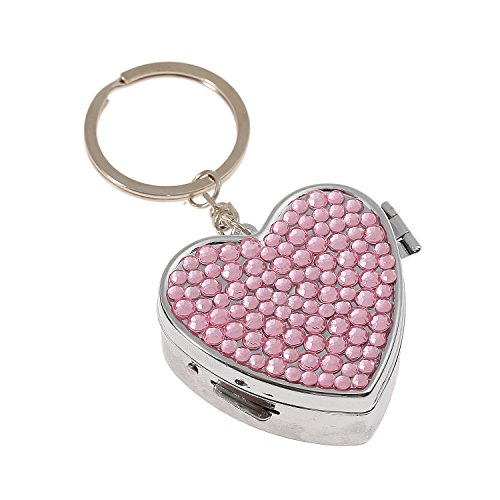 Pink Jeweled Heart (Luxury Handmade Portable Heart Shape Multi-Size Pink Bling Crystal Pill Box Cute Travel Rhinestone Pill Case)