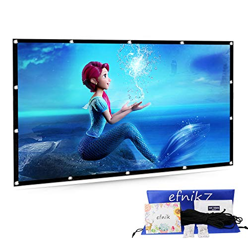 Projector Screen 120 inch 16:9 HD efnik 7 Brand Portable Projection Screen Foldable Anti-Crease for Home Cinema Theater and Outdoor Movie Screen Support Rear Projection (with Bag), Thicker Material by efnik7