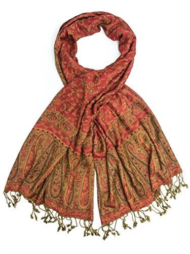 Bohomonde, Bhayana Reversible Cashmere Silk Pashmina Scarf, hand made in India (Red/Olive)