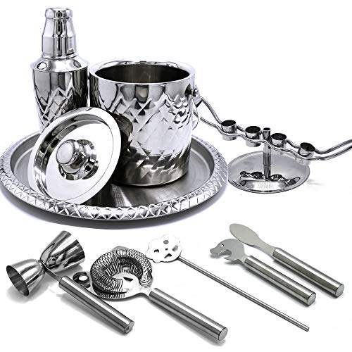 Elegant Cocktail Shaker and Bar Set - 10 Piece Stainless Steel Bar Tool Set with Ice Bucket and Tray - all in One Cocktail Set for Restaurant or Home Bar