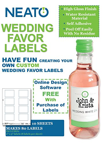 """Neato High Gloss Vinyl Labels –""""10 Inkjet Printer Compatible Label Sheets - 80 2""""x3"""" Labels - Includes Design Software"""