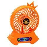 Gosear Summer Portable Mini Personal USB Rechargeable Cooling Desk Fan 3 Wind Mode with Power Bank And Flash Light for Home Office Outdoor Travel Orange