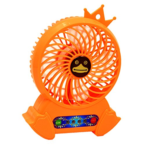 Gosear Summer Portable Mini Personal USB Rechargeable Cooling Desk Fan 3 Wind Mode with Power Bank And Flash Light for Home Office Outdoor Travel Orange by Gosear