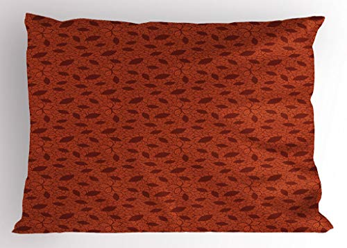 - Ambesonne Burnt Orange Pillow Sham, Leafage Pattern with Victorian Lace Design Inspired Flower Petals, Decorative Standard Queen Size Printed Pillowcase, 30 X 20 inches, Burnt Orange Burgundy