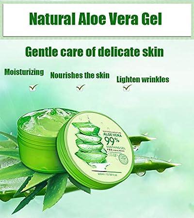 Gel de Aloe Vera, Aloe vera Gel, Crema Hidratante con Ácido Hialurónico y Vitamina C, Gel Calmante e Hidratante, para la cara, cuerpo, cabello, Cuidado de las quemaduras solares - 300ml