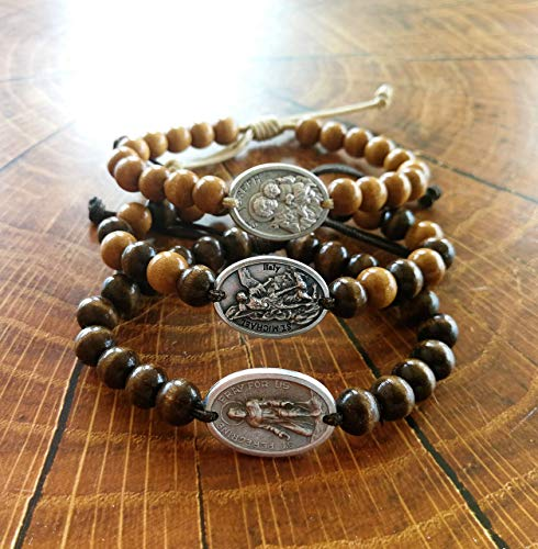 - Adjustable Wooden Beads Religious Bracelets With Saint Medals - St Michael Peregrine Benedict San Benito Miraculous Joseph Holy Francis Virgin Mary Therese Jude