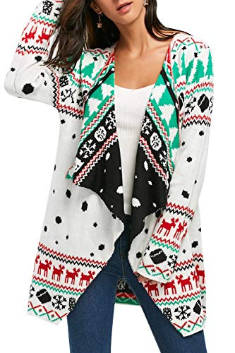 Women Ugly Christmas Lapel Neckline Open Front Sweater Cardigan White L